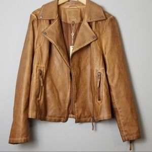 Max Studio Faux Leather Jacket in Distressed Brown